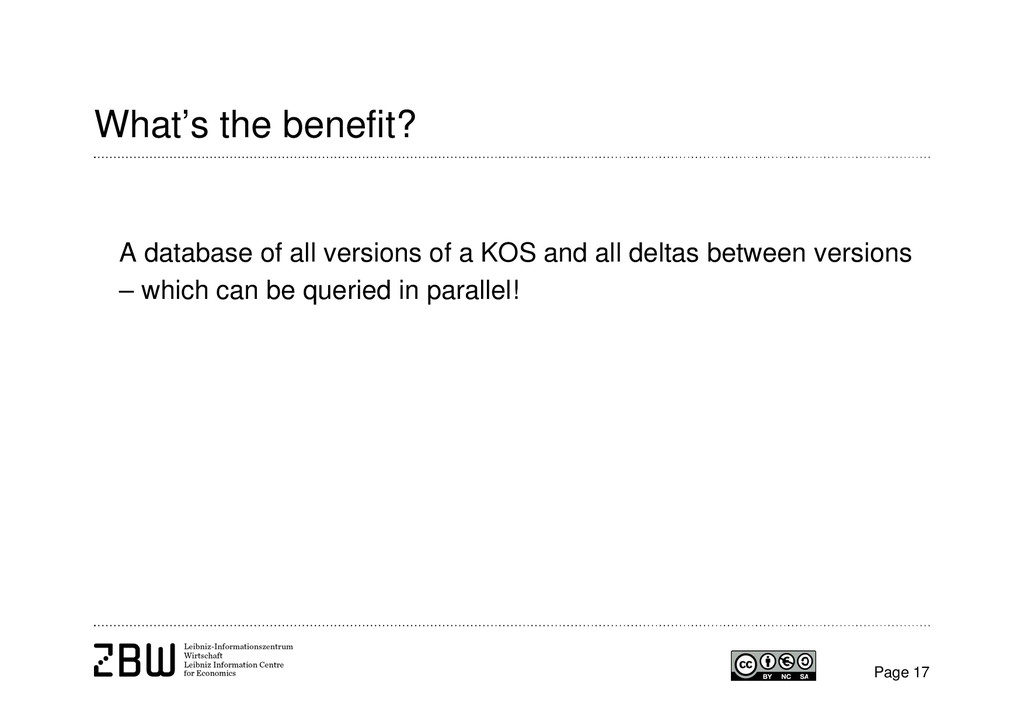 What's the benefit? A database of all versions ...