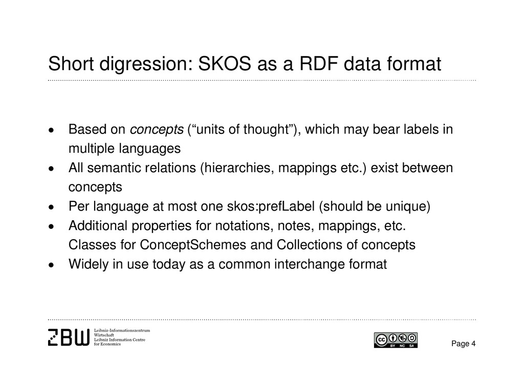 Short digression: SKOS as a RDF data format  B...