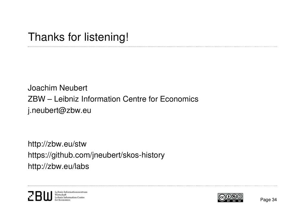 Page 34 Thanks for listening! Joachim Neubert Z...