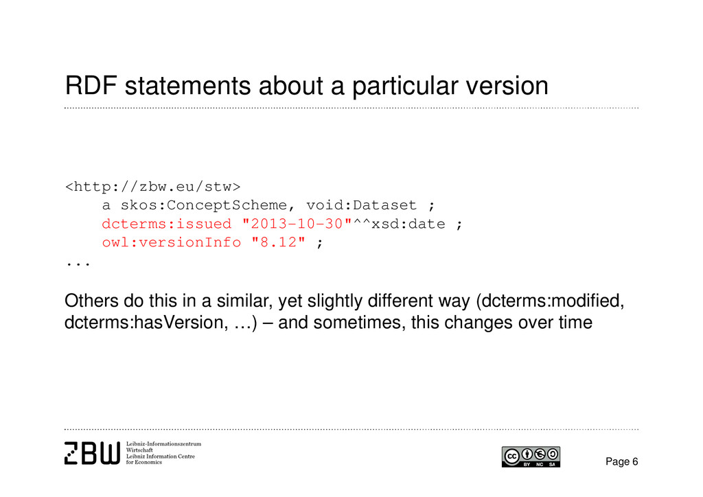 RDF statements about a particular version Page ...