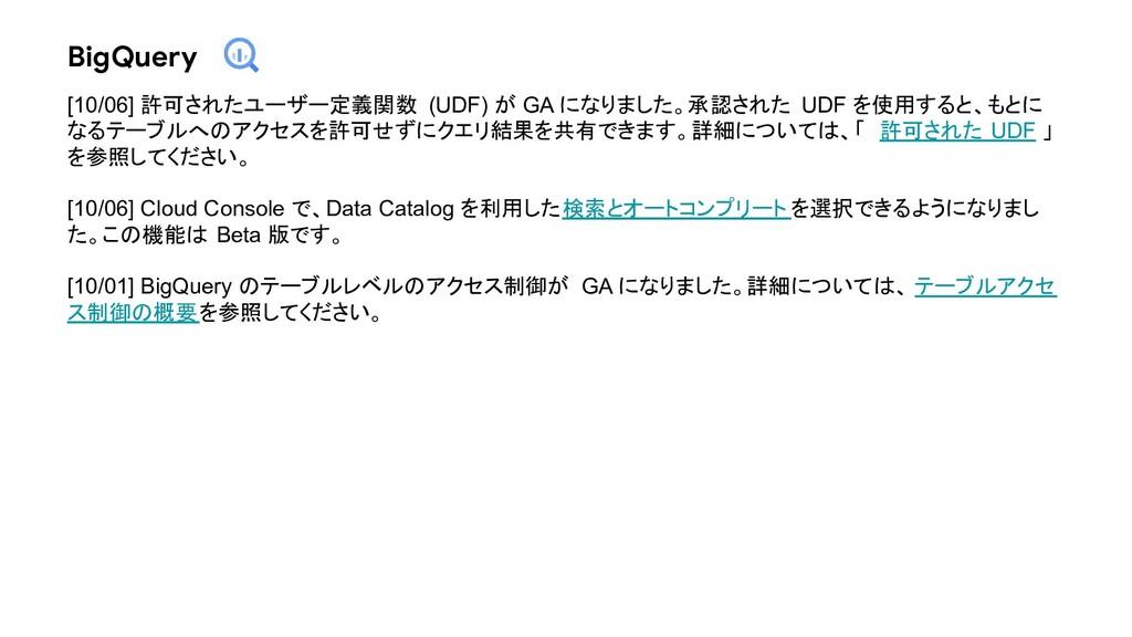 BigQuery [10/06] 許可されたユーザー定義関数 (UDF) が GA になりまし...