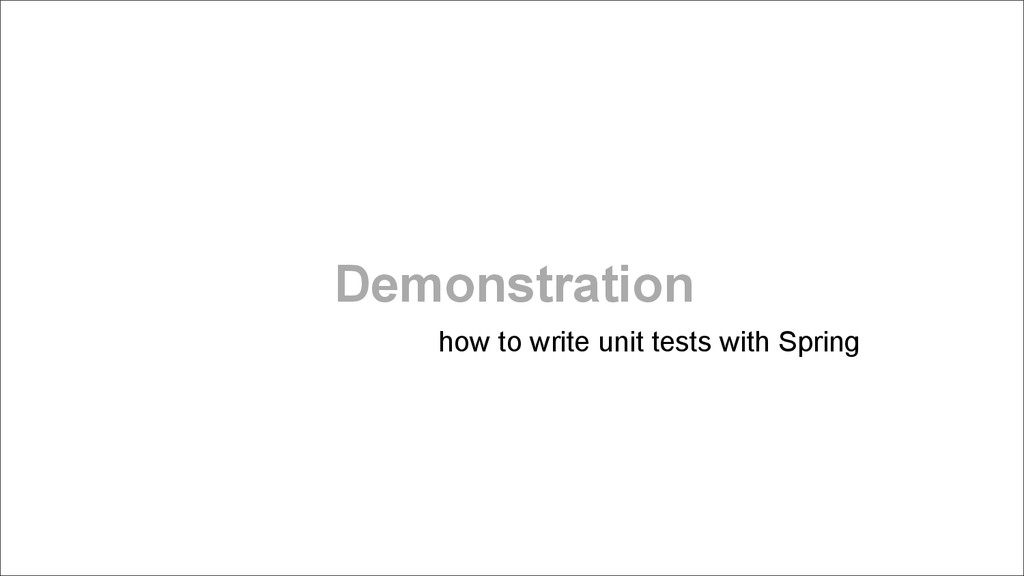 Demonstration how to write unit tests with Spri...