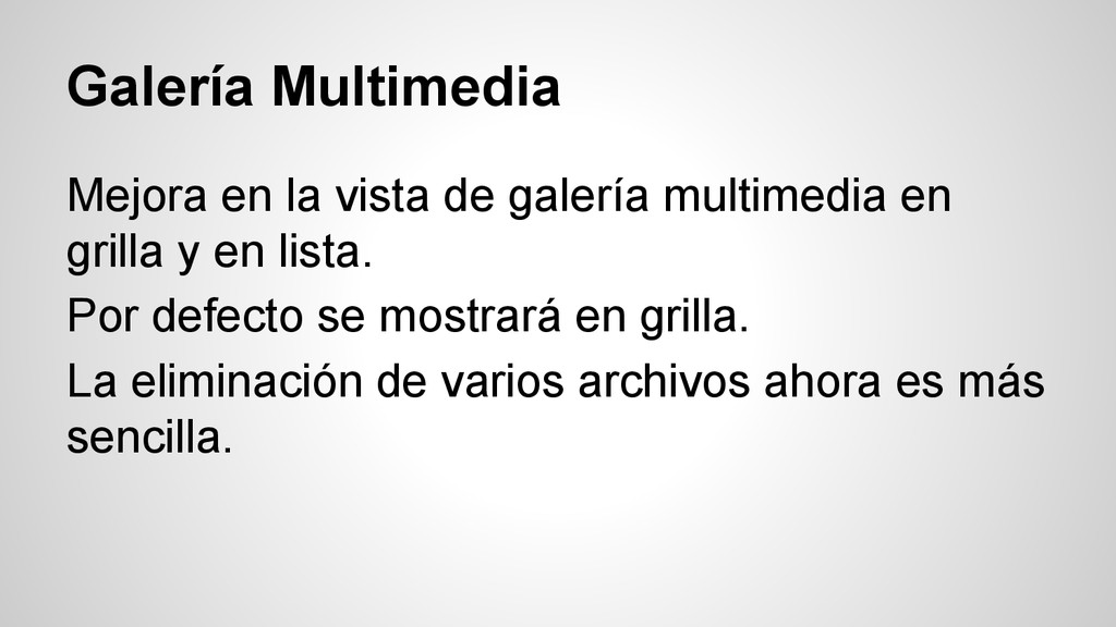 Galería Multimedia Mejora en la vista de galerí...