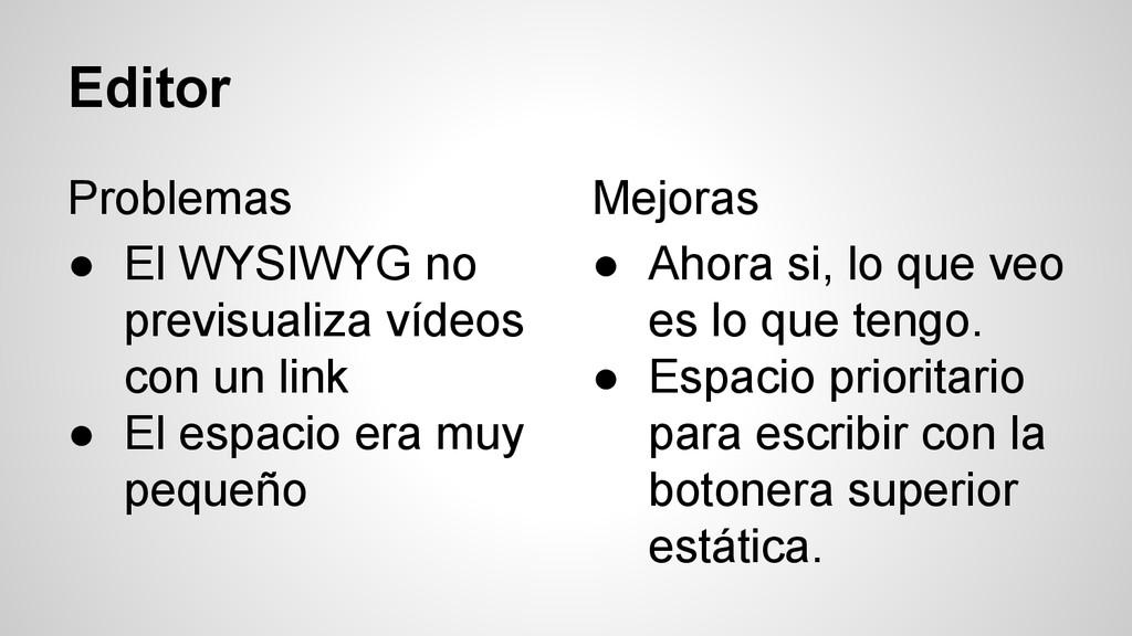 Editor Problemas ● El WYSIWYG no previsualiza v...