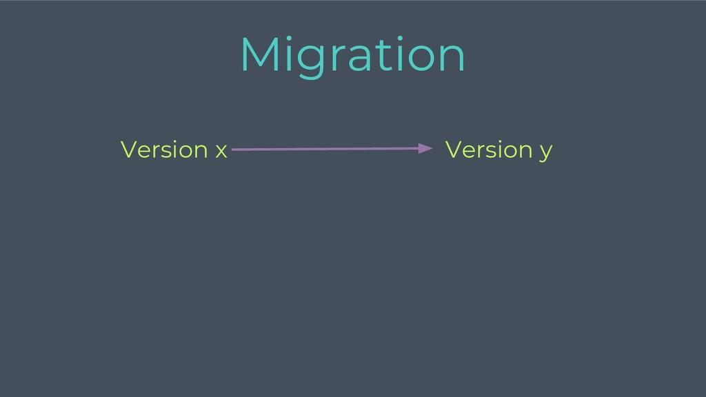 Version y Version x Migration