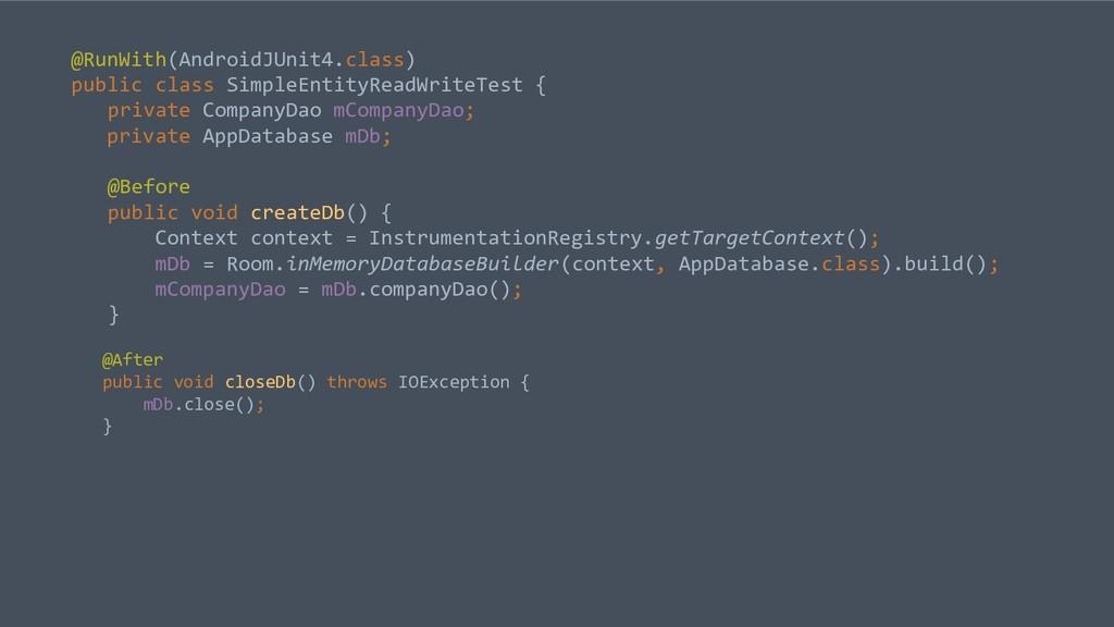 @RunWith(AndroidJUnit4.class) public class Simp...