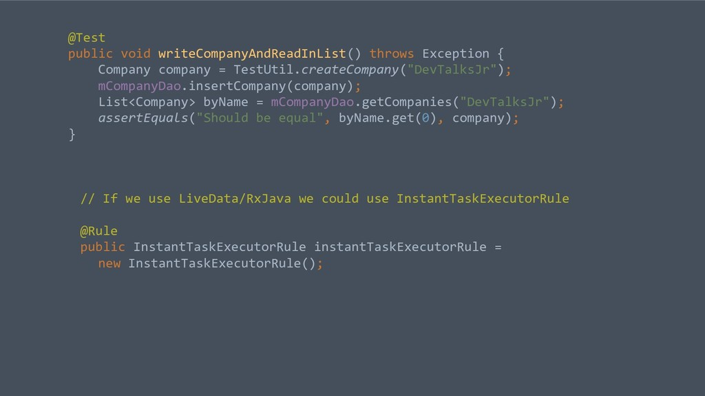 @Test public void writeCompanyAndReadInList() t...
