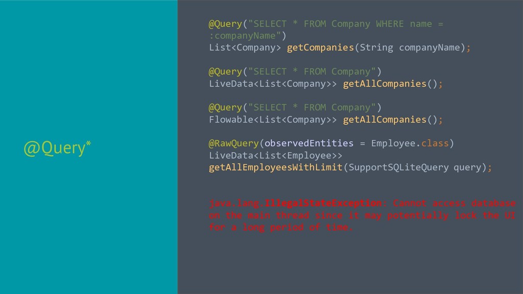 """@Query* @Query(""""SELECT * FROM Company WHERE nam..."""