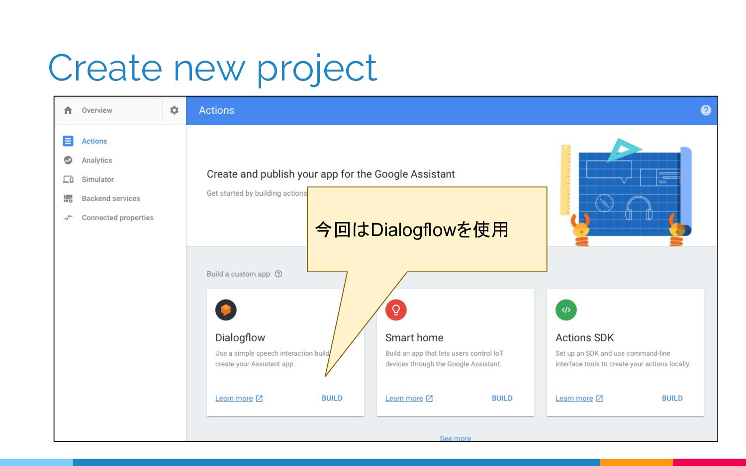 Create new project 今回はDialogflowを使用