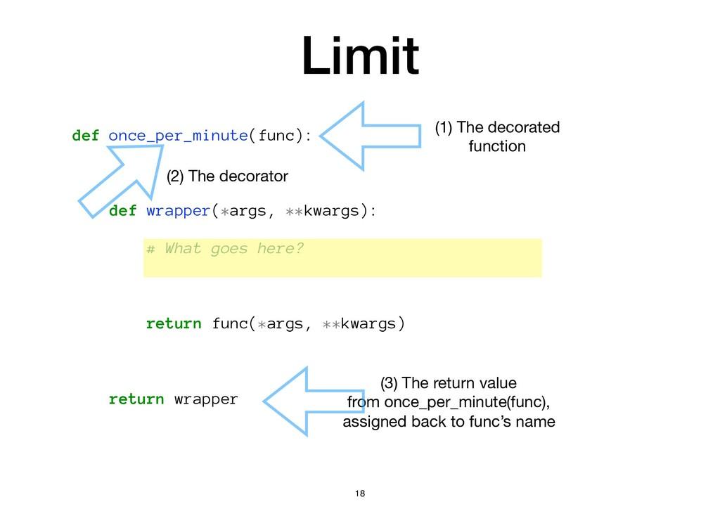 Limit def once_per_minute(func): def wrapper(*a...