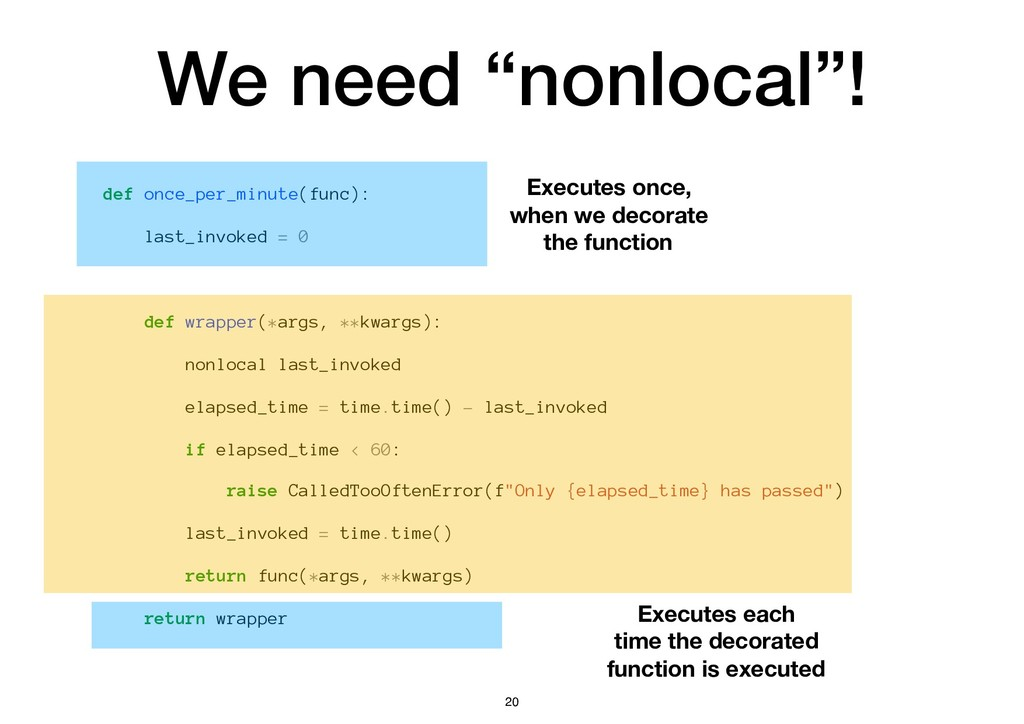"""We need """"nonlocal""""! def once_per_minute(func): ..."""