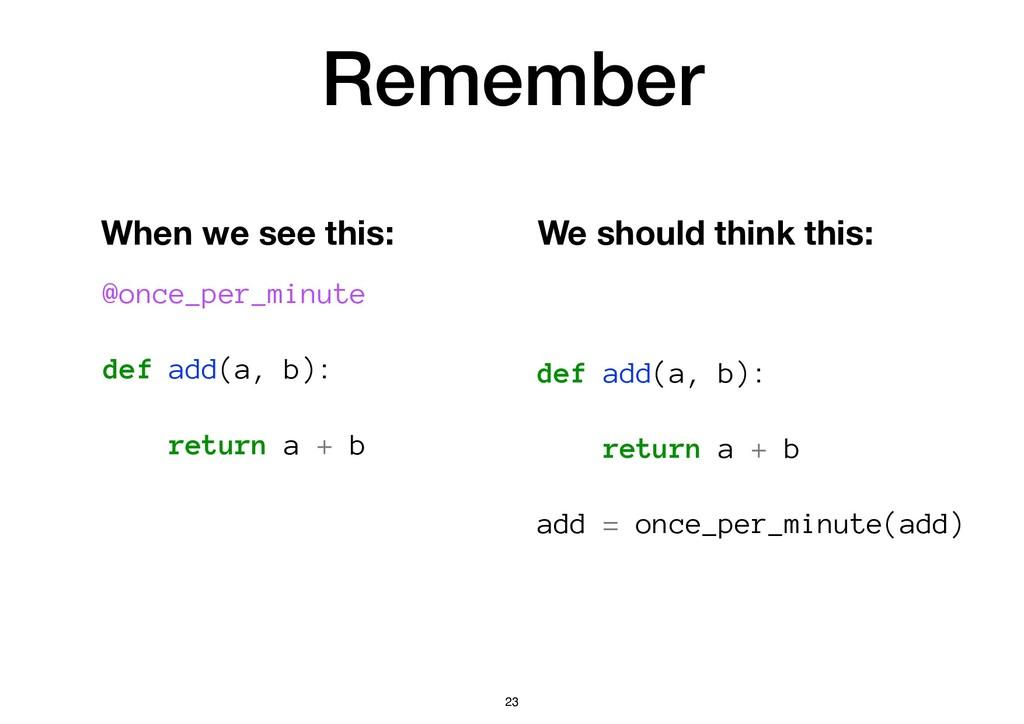 Remember @once_per_minute def add(a, b): return...