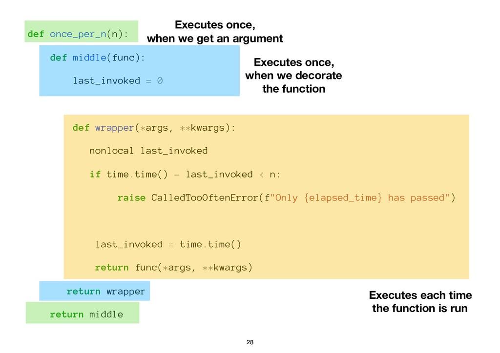 def once_per_n(n): def middle(func): last_invok...
