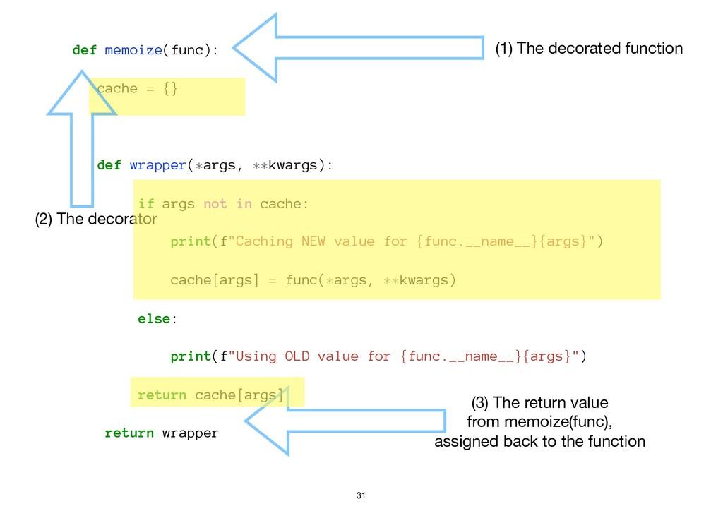 def memoize(func): cache = {} def wrapper(*args...