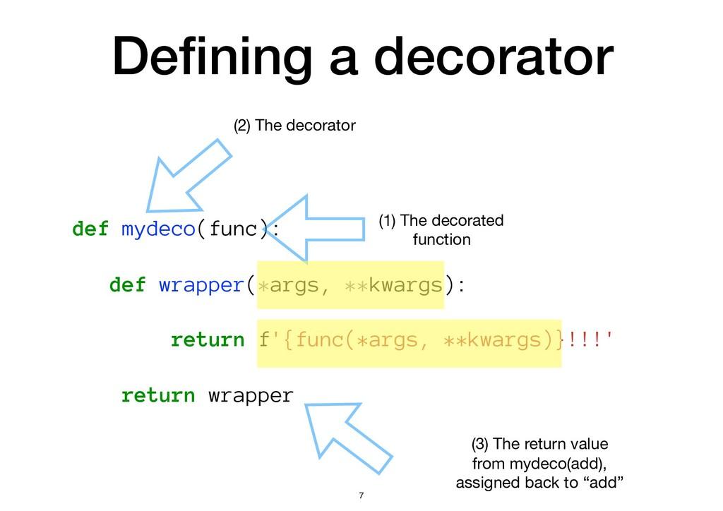 Defining a decorator def mydeco(func): def wrapp...