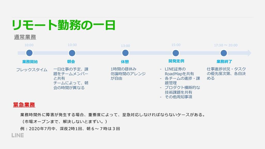 10:00 10:30 業務開始 朝会 15:00 開発定例 13:00 休憩 17:30 ~...