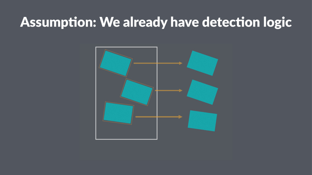 Assump&on: We already have detec&on logic