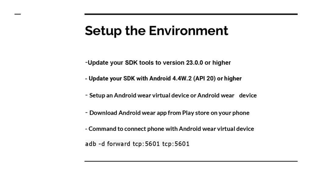 Setup the Environment -Update your SDK tools to...
