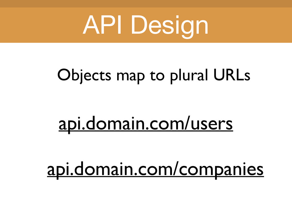 Title Title Objects map to plural URLs api.doma...