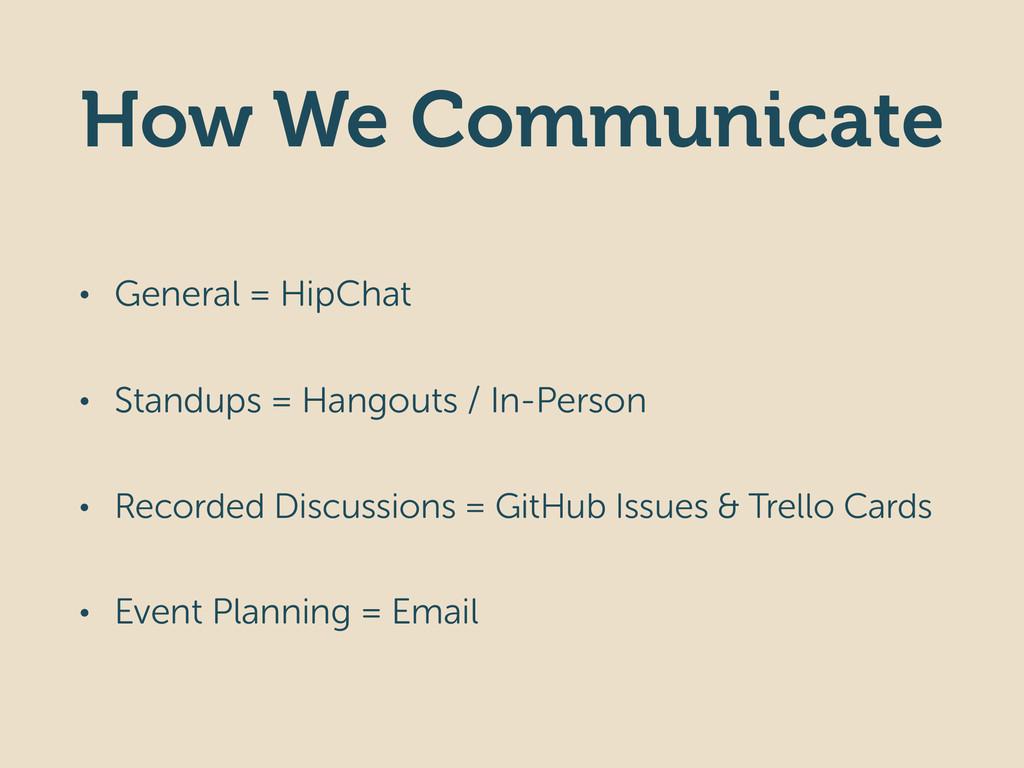 How We Communicate • General = HipChat • Standu...