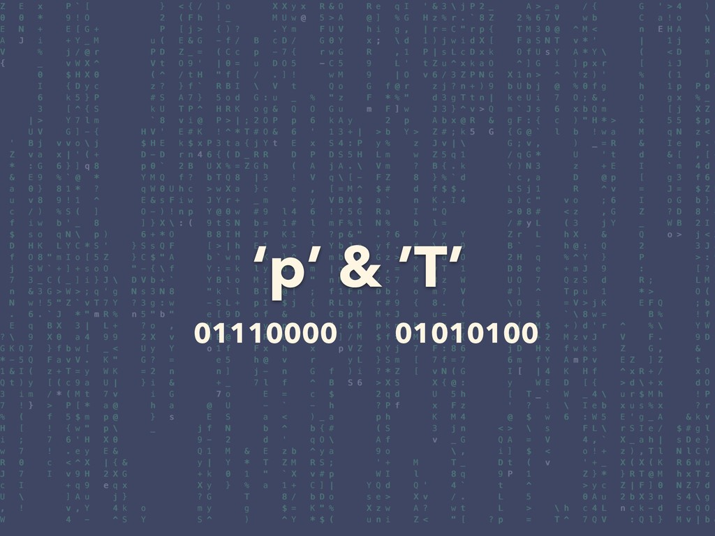 'p' & 'T' 01110000 01010100
