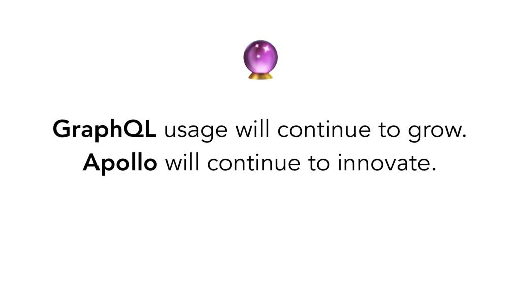 GraphQL usage will continue to grow. Apollo wi...