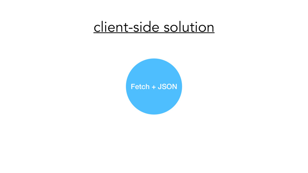 client-side solution Fetch + JSON