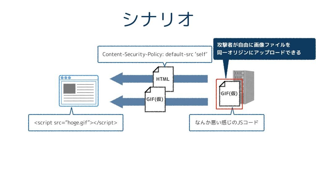 シナリオ HTML Content-Security-Policy: default-src ...