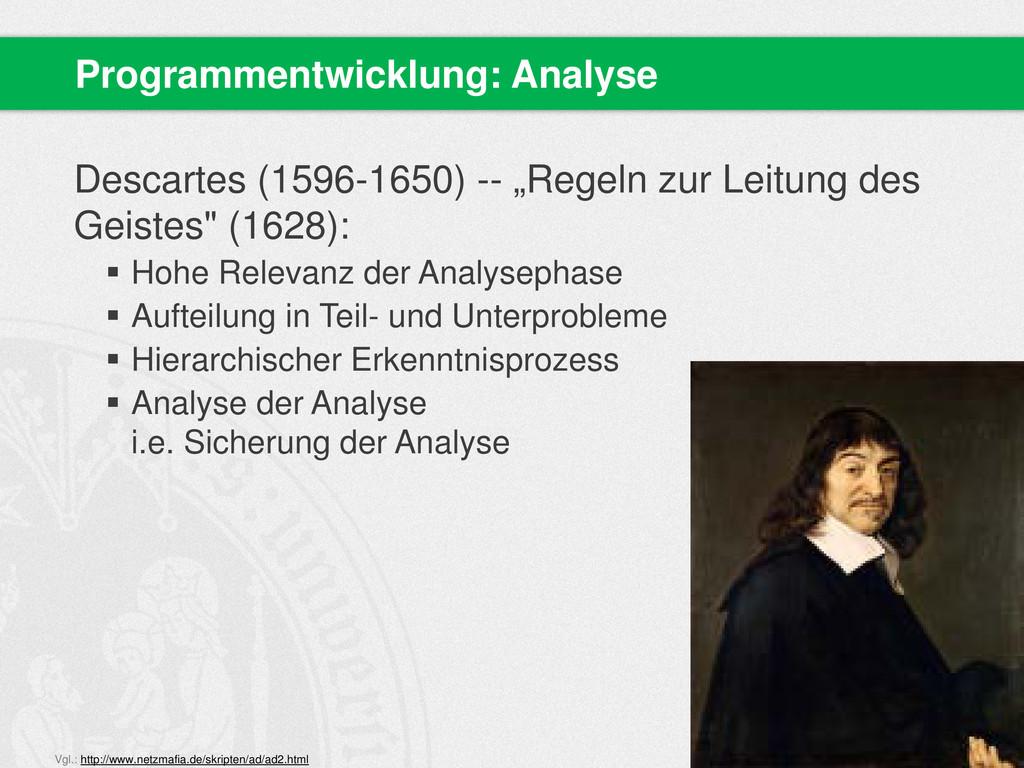 "Descartes (1596-1650) -- ""Regeln zur Leitung de..."