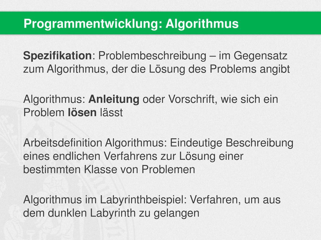 Spezifikation: Problembeschreibung – im Gegensa...