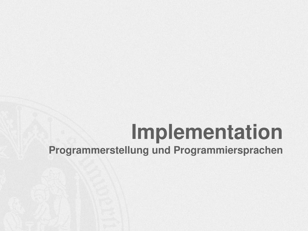 Implementation Programmerstellung und Programmi...