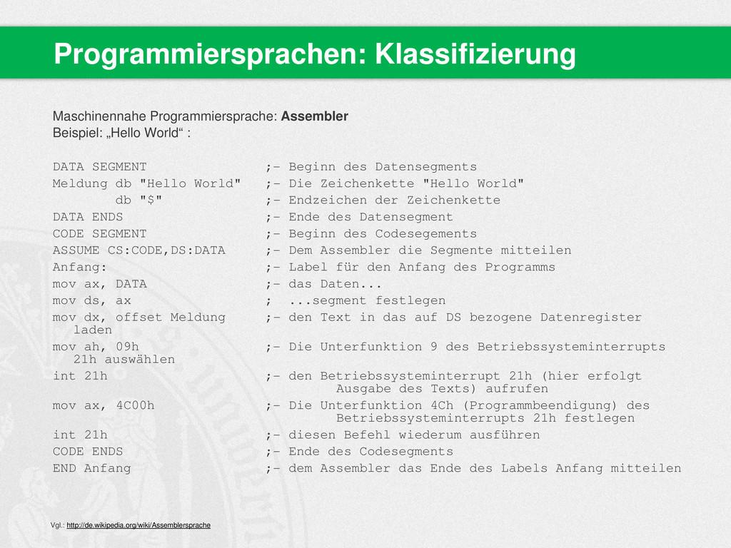 Maschinennahe Programmiersprache: Assembler Bei...