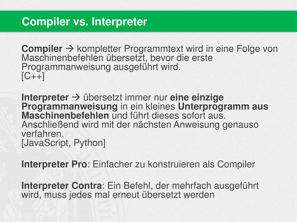 Compiler  kompletter Programmtext wird in eine...
