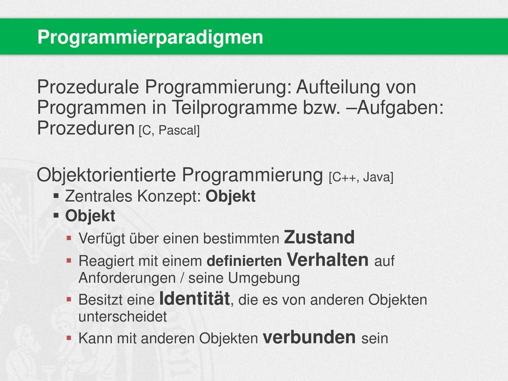 Prozedurale Programmierung: Aufteilung von Prog...