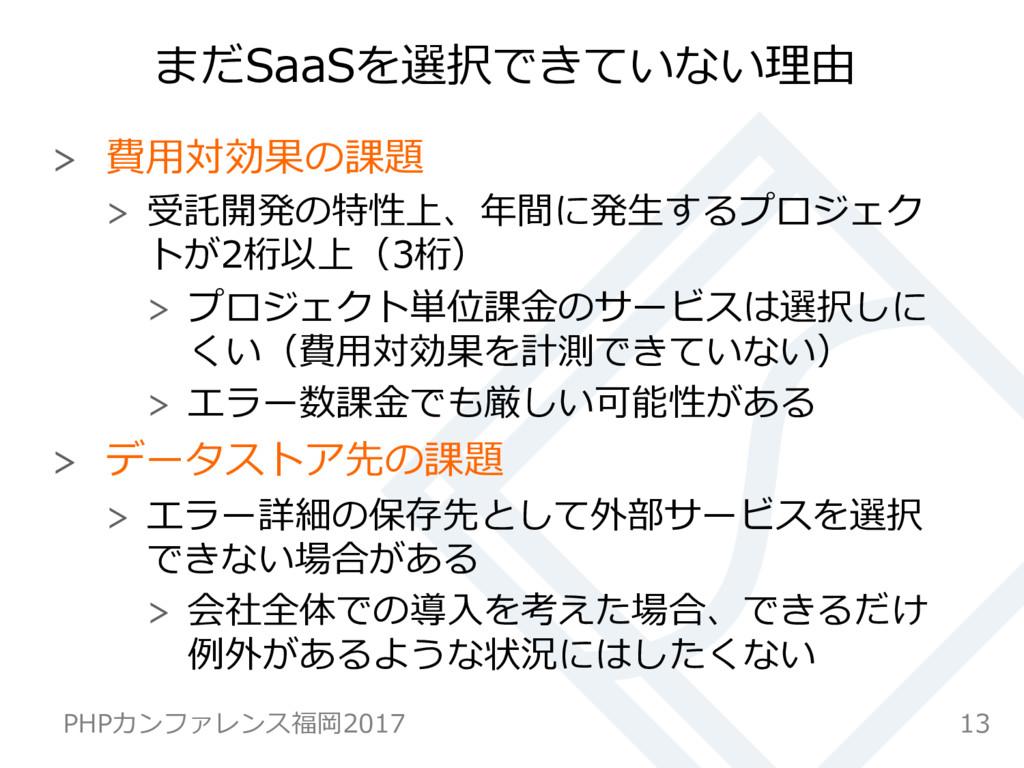 まだSaaSを選択できていない理由  費⽤対効果の課題  受託開発の特性上、年間に発⽣...