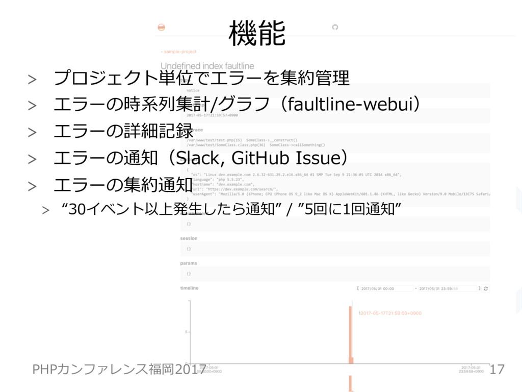 機能  プロジェクト単位でエラーを集約管理  エラーの時系列集計/グラフ(faultl...