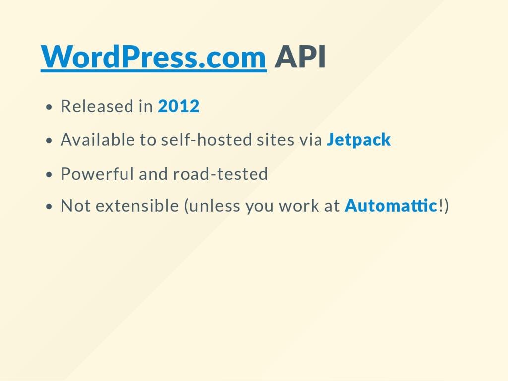 WordPress.com API Released in 2012 Available to...