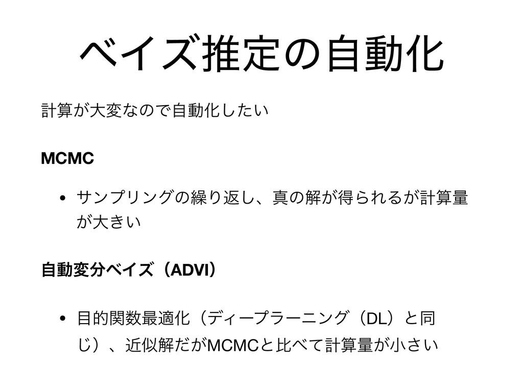 ϕΠζਪఆͷࣗಈԽ ܭ͕େมͳͷͰࣗಈԽ͍ͨ͠  MCMC • αϯϓϦϯάͷ܁Γฦ͠ɺਅͷ...