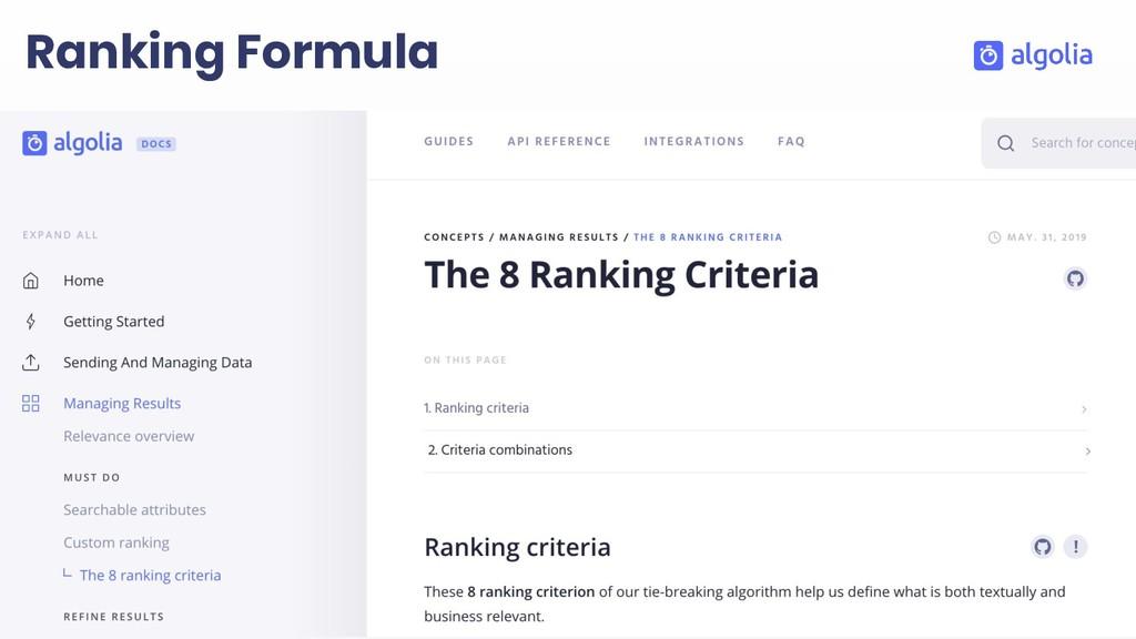 Ranking Formula