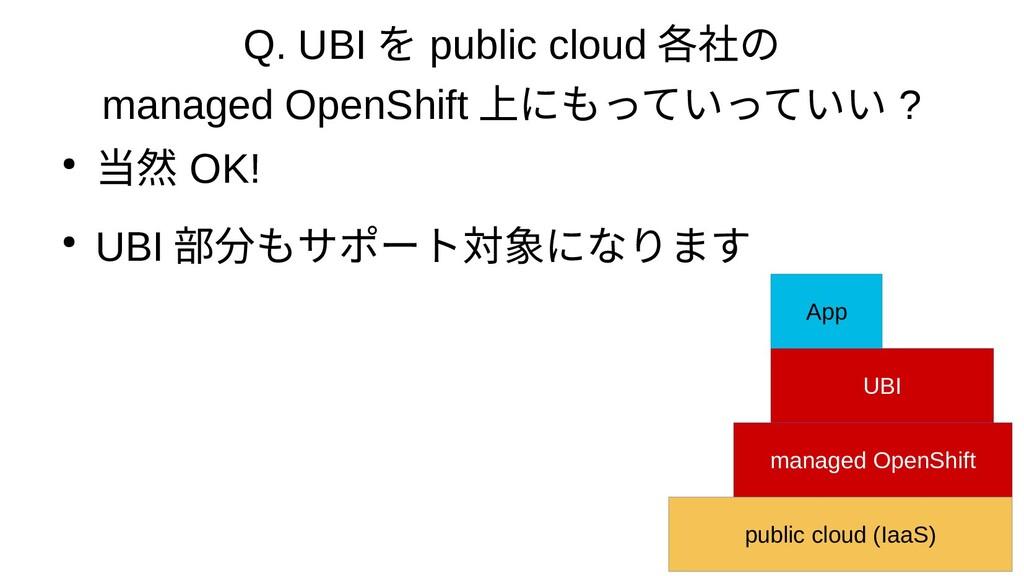 Q. UBI を public cloud 各社の managed OpenShift 上にも...