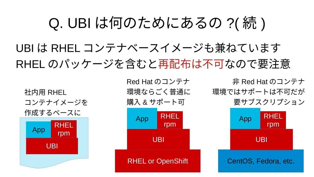 Q. UBI は何のためにあるの ?( 続 ) UBI は RHEL コンテナベースイメージも...