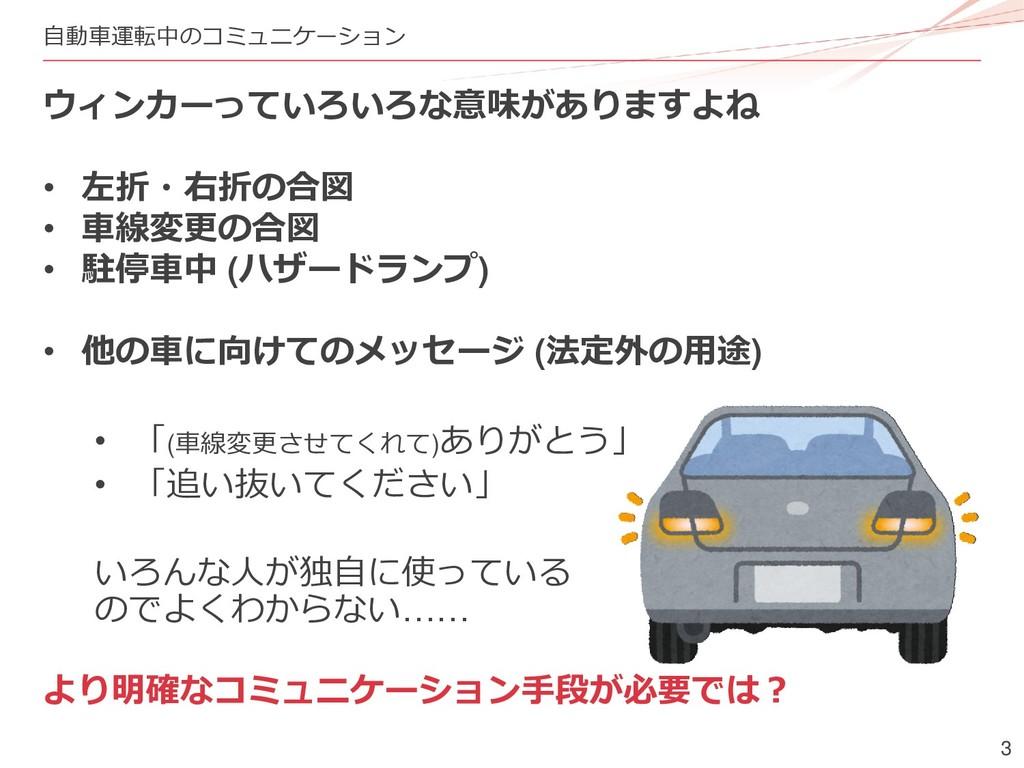 3 自動車運転中のコミュニケーション ウィンカーっていろいろな意味がありますよね • 左折・右...