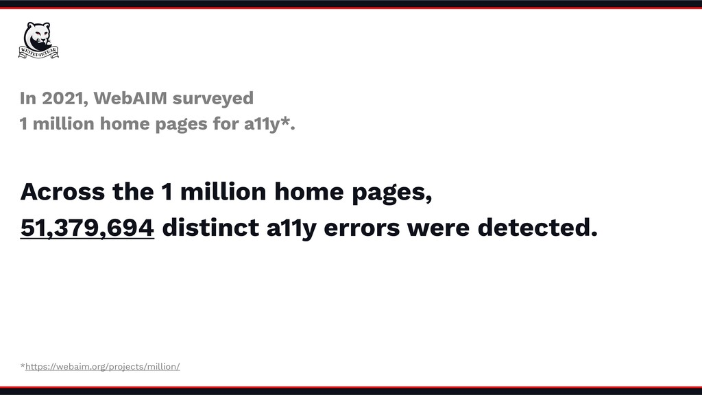 In 2021, WebAIM surveyed 1 million home pages f...