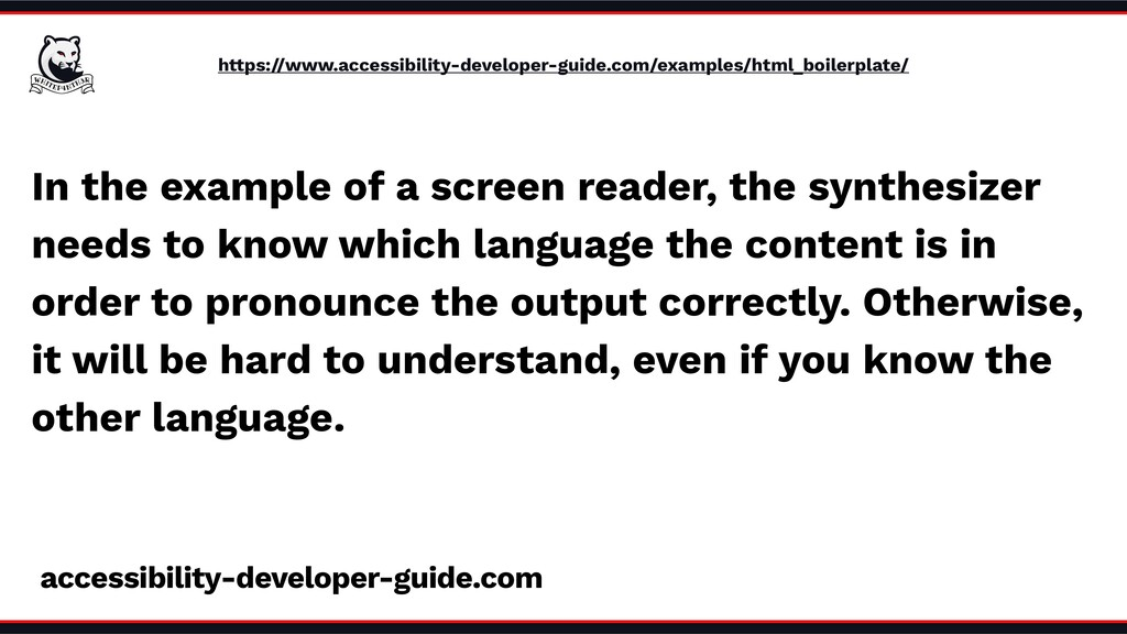 In the example of a screen reader, the synthesi...