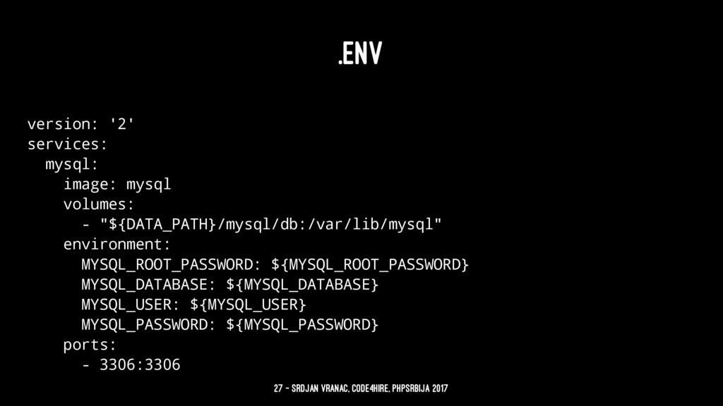 .ENV version: '2' services: mysql: image: mysql...