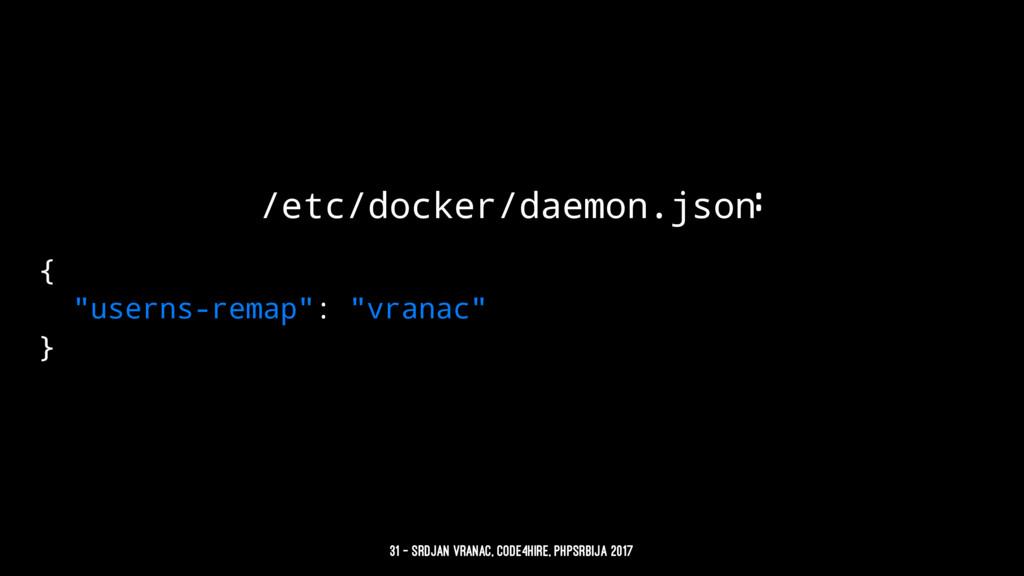"""/etc/docker/daemon.json: { """"userns-remap"""": """"vra..."""