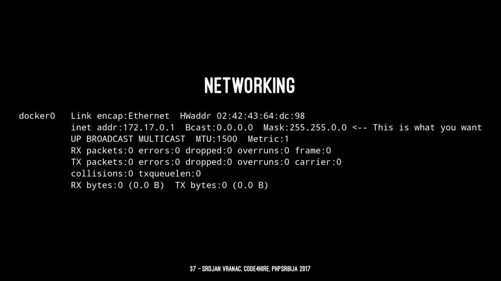 Networking docker0 Link encap:Ethernet HWaddr 0...