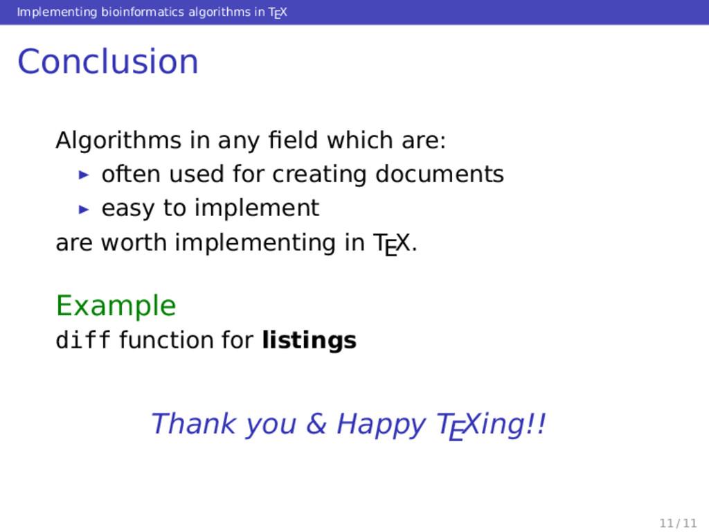 Implementing bioinformatics algorithms in TEX C...