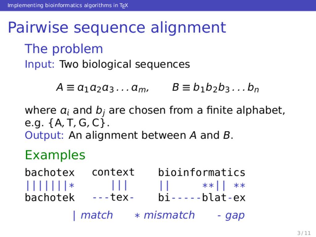 Implementing bioinformatics algorithms in TEX P...