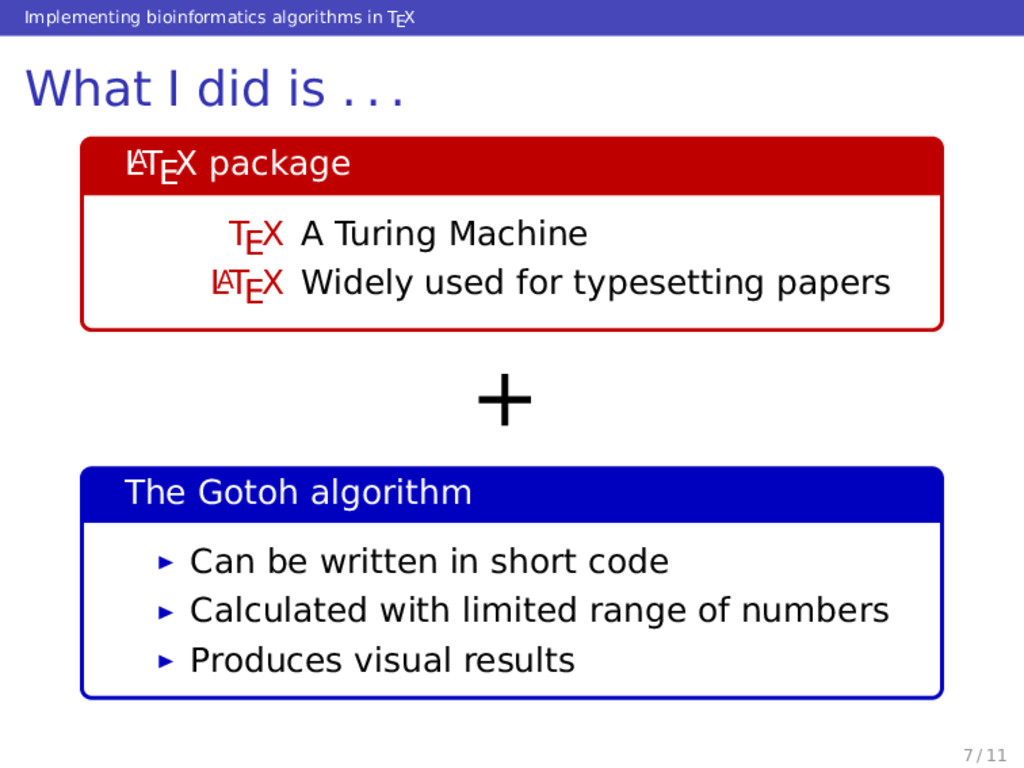 Implementing bioinformatics algorithms in TEX W...